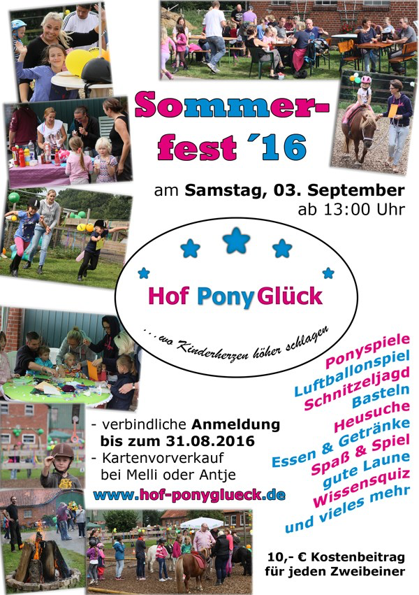 Plakat Sommerfest Hof PonyGlück 2016